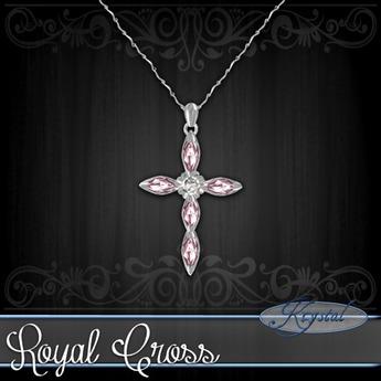 :::Krystal::: Royal Cross - Necklace - Platinum (Rose)