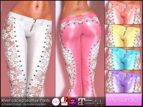 ALESSANDRA - Rivet Laced Leather Pants (6 Pastel Colors)