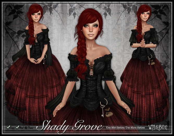 [Wishbox] Shady Grove (Rusty Raven) - Role Play Gown with Styling Options and Omega Appliers for Maitreya, SLink, Etc.,