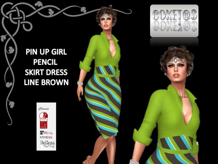 coket@s PinUp Girl Pencil Skirt Dress LINE BROWN