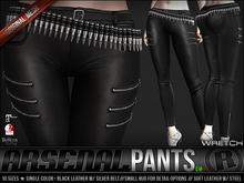 Razor/// Arsenal Pants & Bullet Belt - Single - Black & Silver