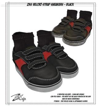 .:ZiSP:. ZKS Velcro Strap Sneakers (Black) - KiDS Fitmesh