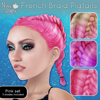 (NO) French Braid Pigtails - Pinks
