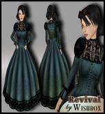 "[Wishbox] ""Revival"" (Steel Blue) - Neo-Victorian Steampunk Gown Goth Gothic Dress"