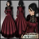 """[Wishbox] """"Revival"""" (Garnet Red) - Steampunk Gown Goth Gothic Dark Victorian Dress"""