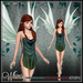 [Wishbox] Whimsy (Petites) - Beetle Green Mesh Fairy Dress and Wings for Petite Mesh Avatars