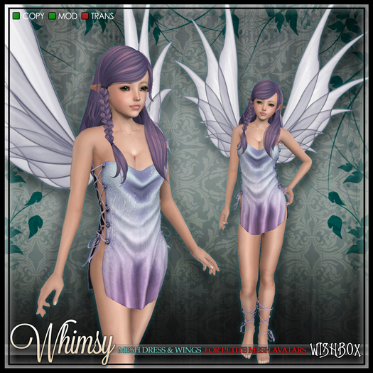 [Wishbox] Whimsy (Petites) - [Demo] Mesh Fairy Dress and Wings for Petite Mesh Avatars
