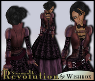 [Wishbox] Revolution (Purple) - Neo-Victorian Steampunk Gown Dress with Scarf and Goggles