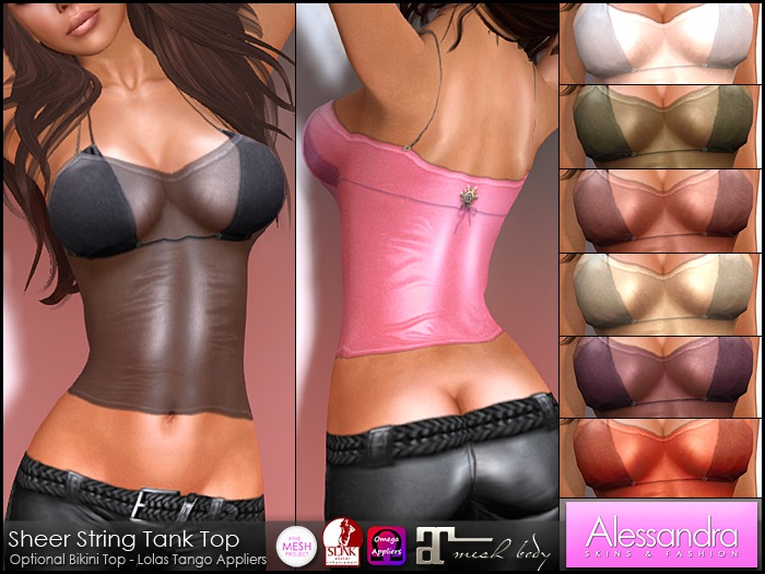 ALESSANDRA - Sheer String Tank Top (8 Colors)