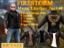 Men's Firestorm Branded Leather Jacket - Bronze Sponsorship