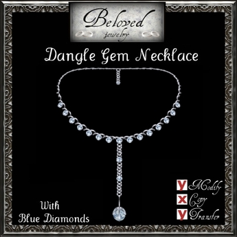 Beloved Jewelry : Dangle Gem Necklace (Blue Diamond)