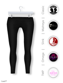 Gawk! Black Cotton Leggings incl. Appliers for #TheMeshProject, Maitreya Lara, Slink Physique & Omega System