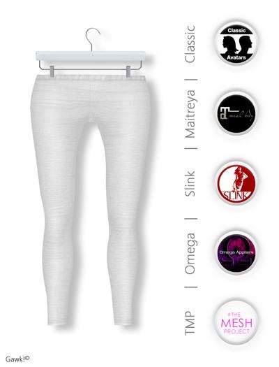 GAWK! White Cotton Leggings | BoM & Appliers for Maitreya, Slink Physique, TMP & Omega System
