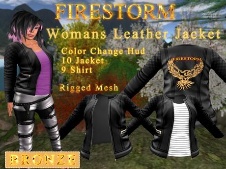 Women's Firestorm Branded Leather Jacket - Bronze Sponsorship