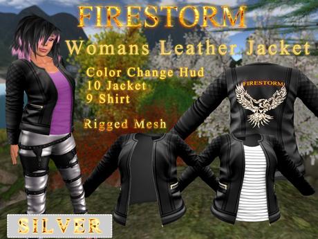 Women's Firestorm Branded Leather Jacket - Silver Sponsorship