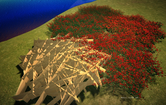 """1 prim full perm """"Low Lag Red Tulips Field / Meadow"""" sculpt map, any plant texture PROMO"""