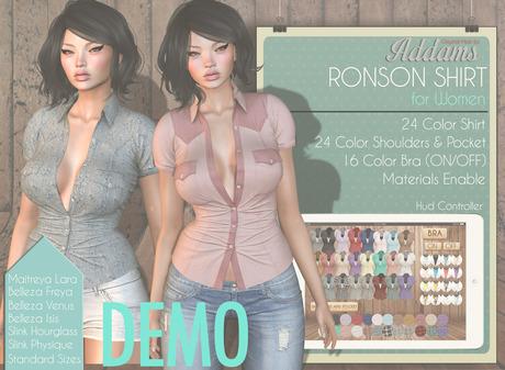Addams - Mesh Shirt & Bra - Maitreya Lara, Belleza Freya Isis Venus,Slink Physique Hourglass. Shirt mesh Ronson - DEMO