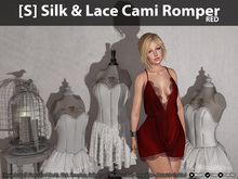 [S] Silk & Lace Cami Romper - Red