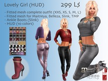 Lovely Girl Outfit (HUD) Maitreya, Belezza, Slink, TMP and many more avatars