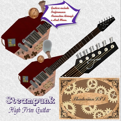 Thadovian Steampunk Guitar - Red