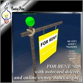 For rent sign (with notecard delivery and owner online status display)