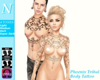 -Natti- Phoenix Tribal Body Tattoo (Omega) Unisex