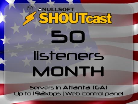 SHOUTcast stream server - 50 listeners - up to 192kbps - one month - Atlanta (GA), USA