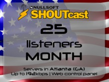 SHOUTcast stream server - 25 listeners - up to 192kbps - one month - Atlanta (GA), USA