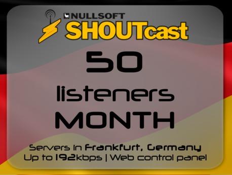 SHOUTcast stream server - 50 listeners - up to 192kbps - one month - Frankfurt, Germany