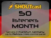 SHOUTcast stream server - 50 listeners - up to 192kbps - one month - Frankfurt, Germany