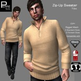 SWEATER with ZIP TAN: Classic, AESTHETIC, SLINK
