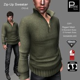SWEATER with ZIP OLIVE: Classic, AESTHETIC, SLINK