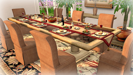 Dinner Party Dining Set for 8: Travertine & Taupe Linen mesh