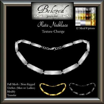 Beloved Jewelry : Plate Necklace (Texture Change Metals, Mesh) UniSex/Men's/Ladies Necklace
