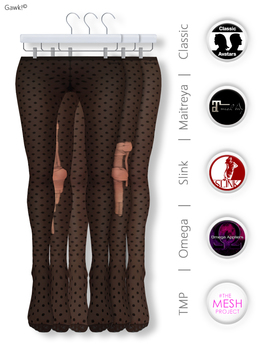 GAWK! Black Dotted Nylon Tights| BoM & Appliers for Maitreya, Slink Physique, TMP & Omega System