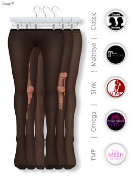 GAWK! Black Nylon Tights| BoM & Appliers for Maitreya, Slink Physique, TMP & Omega System