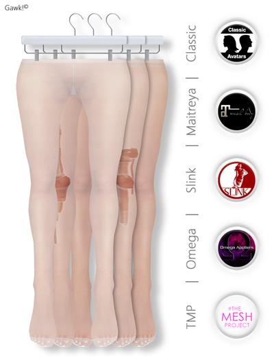 GAWK! White Nylon Tights| BoM & Appliers for Maitreya, Slink Physique, TMP & Omega System