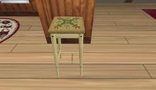 Mesh Kitchen Stool w/ Needlepoint Seat