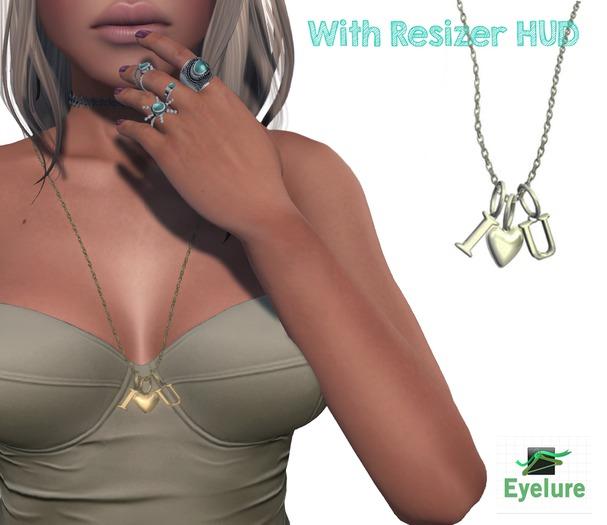 Eyelure I HEART U  Necklace w/Resizer   GOLD