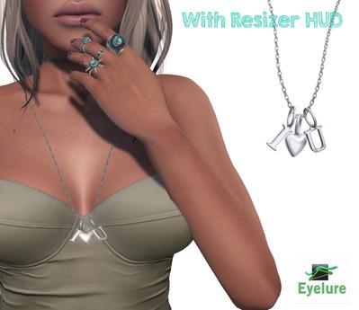 Eyelure I HEART U  Necklace w/Resizer   SILVER
