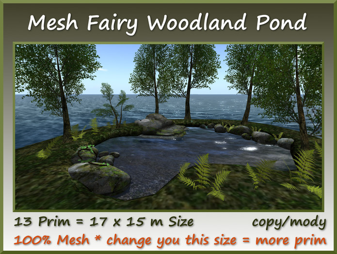 Mesh Fairy Woodland Pond 13 Prim=17x15m Size copy/mody