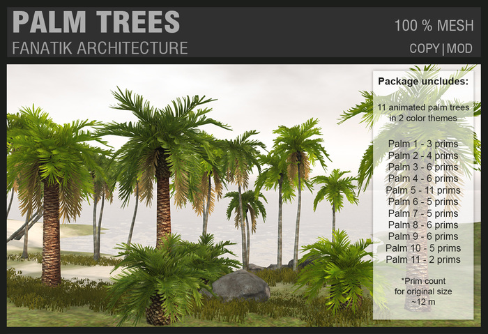 :Fanatik Architecture: PALM TREES – tropical mesh palm trees with animated textures