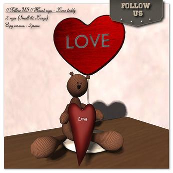 !! Follow US !! Heart sign - Love Teddy 2sizes COPY version Box