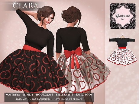 :-:Chambre Rose:-: Clara black/white/red