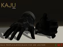 KajU People Gloves - Black fur and leather