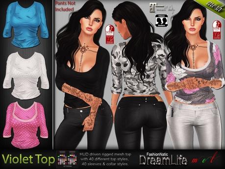 Violet Top Exclusive MESH - Maitreya Lara, Slink Physique Hourglass - HUD - DreamLife - FashionNatic