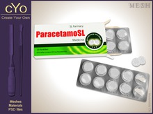 cYo Painkillers | ParacetamoSL, full perms mesh + material + Photoshop files