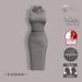 =R-Solution= Cowl Neck Sleeveless Dress Grey