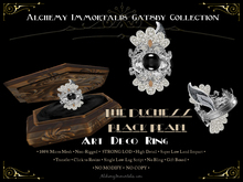 [Gatsby Collection] The Duchess Black Pearl Art Deco Cocktail Ring [MESH]
