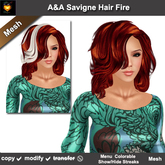 A&A Savigne Hair Fire (Special Color). Resizable mesh medium length womens hairstyle with colorable streaks. Promo!